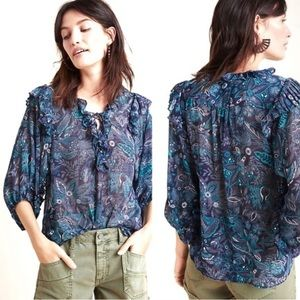 Anthropologie Floral Paisley Print Ruffle Blouse